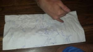 A handmade bar napkin map somewhere in the Western Slope